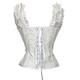 10 Sizes Black/White Button Closure Overbust Spandex Corset with Sleeves