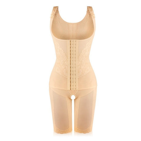 8 Sizes Beige/Black/Khaki Lace Decorated Hook Closure Underbust Lycra Full Body Shaper