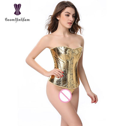 9 Sizes Button Closure Overbust Polyester Gold Corset