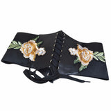 Black 4 Styles Flower Embroidered Lace Closure Underbust Polyester Vintage Corset