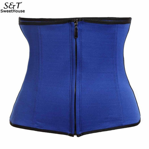 6 Sizes Black/Blue/Purple/Rose Red Zipper Closure Underbust Rubber Waist Trainer