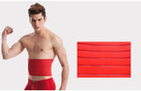 Red Mesh Horizontal Pattern Velcro Closure Underbust Nylon Male Waist Trainer