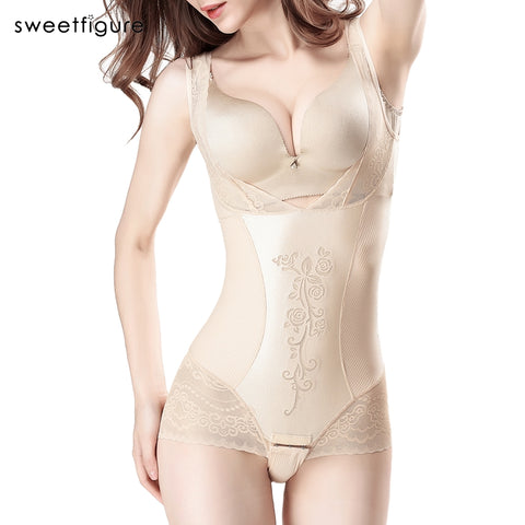 3 Sizes Beige/Black Lace Decorated Underbust Acrylic Full Body Compression Suit