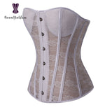 6 Sizes Black/White Button Closure Overbust Polyester Bridal Bustier