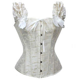 7 Sizes Black/White Ruffles Sleeve Bow Decorated Button Closure Overbust Bridal Bustier