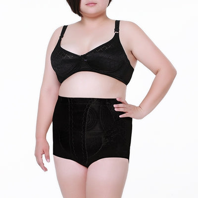 4 Sizes Black/White Hollow Out Decorated Underbust Polyester Plus Size Body Shaper