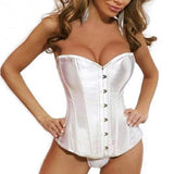 7 Sizes Black/White Button Closure Overbust Polyester Strapless Bodyshaper