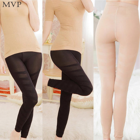 2 Sizes Transparent Black/Nude Spandex Body Shapping Leggings