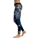 4 Sizes Blue Constellation Printed Elastic Waist Ankle Length Polyester Body Shaping Leggings