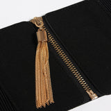 Black Tassle Zipper Closure Leather Girdle