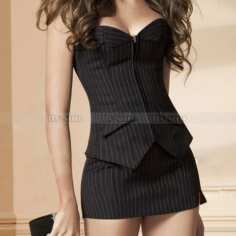9 Sizes Black Overbust Polyester Pinstripe Corset with Skirt