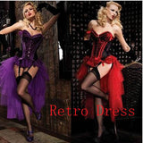 4 Sizes Purple/Red Hook Closure Lace Decorated Spandex Corset Costumes