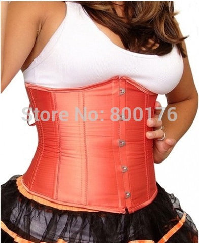 5 Sizes Button Closure Underbust Spandex Orange Corset