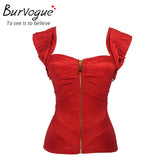 5 Sizes Zipper Closure with Strap Overbust Polyester Red Corset