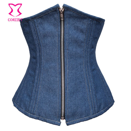5 Sizes Blue Zipper Closure Denim Corset