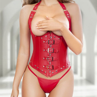 9 Sizes Black/Red Hook and Buckle Closure Halter-type Spandex Overbust Sexy Corset