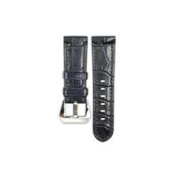Black Crocodile Belly Leather