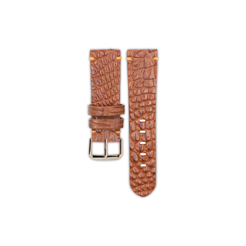 Toffee Crocodile Hornback Leather