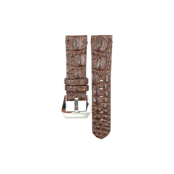 Chocolate Crocodile Hornback Leather