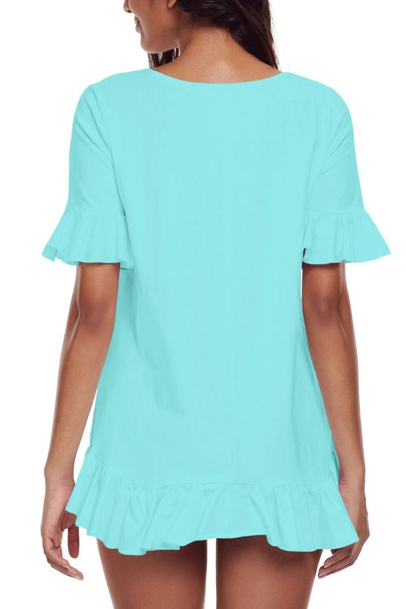 Ruffle Trim Short Sleeve Flowy Top