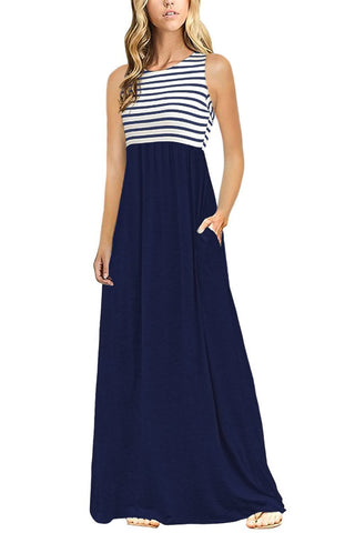 Image of Navy White Striped High Waist Tank Maxi Dress