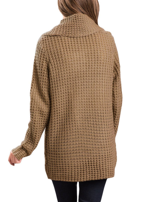 Buttoned Wrap Cowl Neck Sweater (LC27689-16-2)