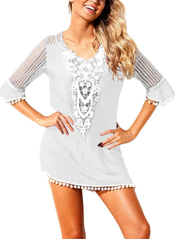 Image of Trim Tassel Lace Crochet Swimwear Beach Cover up