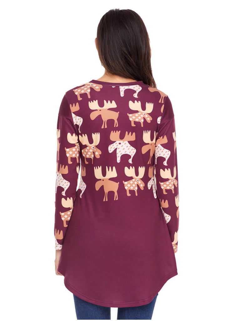 Cartoon Reindeer Print Mauve Christmas Top (LC250594-103-2)