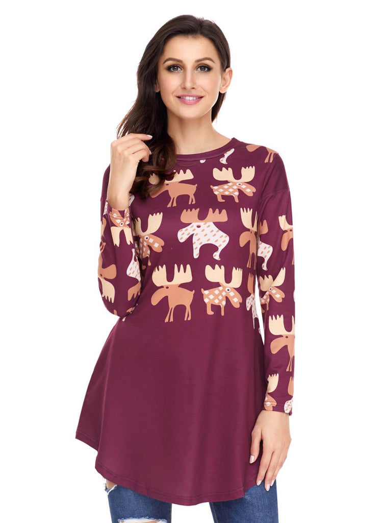 Cartoon Reindeer Print Mauve Christmas Top (LC250594-103-1)