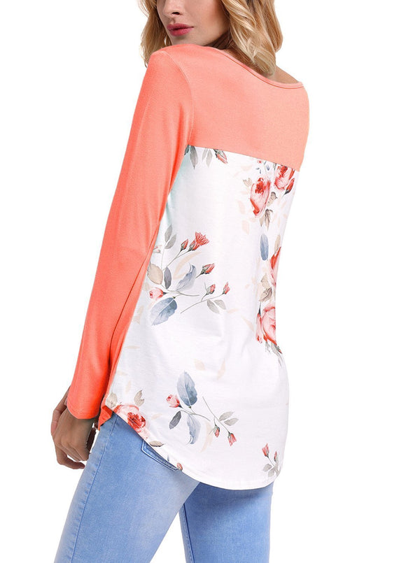 Crisscross Neck Floral Back Long Sleeve Top (LC250433-14-2)