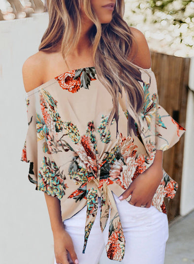 Off Shoulder Floral Lace-up Chiffon Blouse (LC252111-18-1)