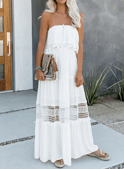 Strapless Ruffled Lace Hollow Maxi Dress