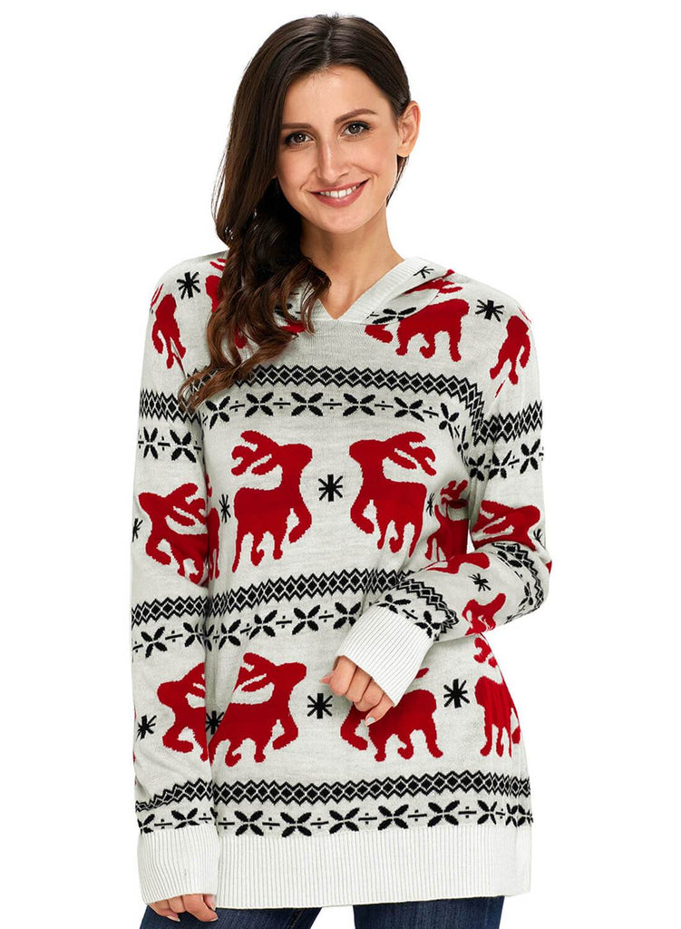 Cute Christmas Reindeer Knit Hooded Sweater (LC27785-1-1)