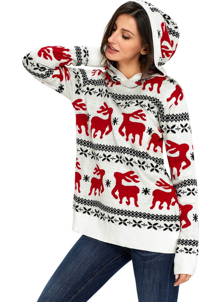 Cute Christmas Reindeer Knit Hooded Sweater (LC27785-1-3)