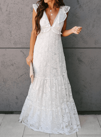 Open Back Ruffled Lace Maxi Dress