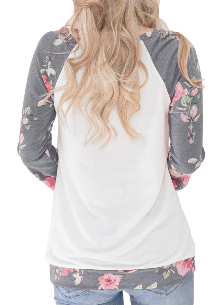 Floral Patchwork Kangaroo Pocket Sweatshirt