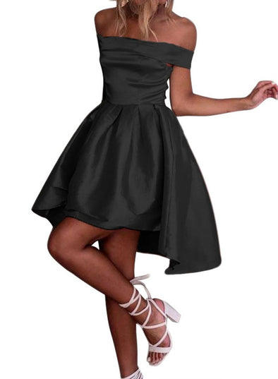 Off Shoulder Pleated Satin Dress