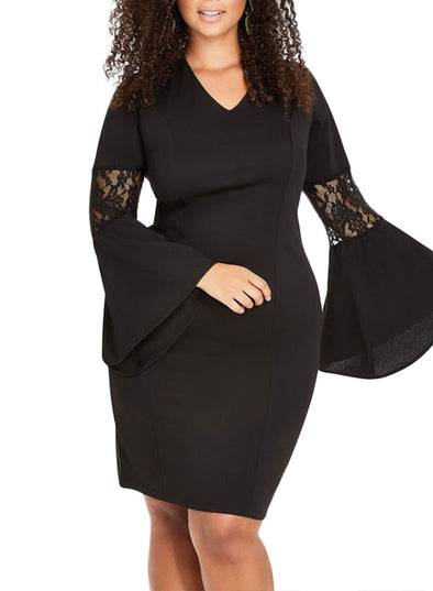 Lace Bell Sleeve Sheath Plus Size Dress
