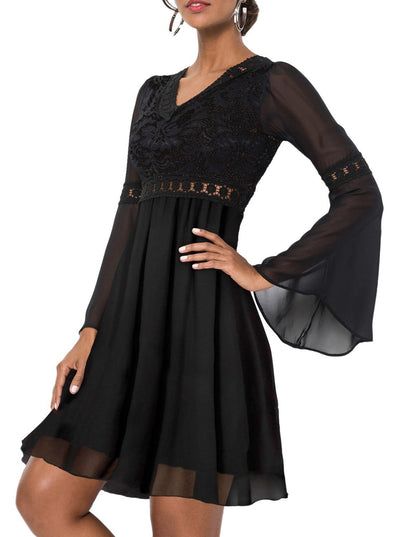 Bell Sleeve V Neck High Waist Cocktail Dress (LC220463-2-1)