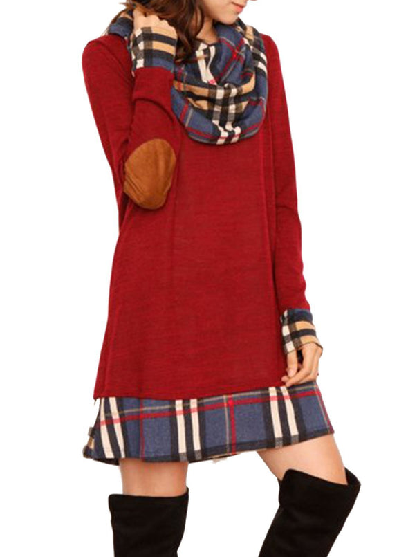 Plaid Elbow Patch Cowl Neck Dress