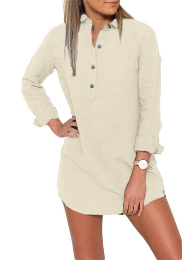 Button Neck Long Sleeve Shirt Dress (LC220480-18-1)