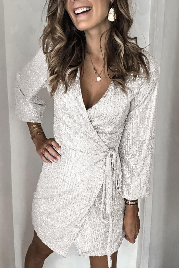 Mini Sequin Wrap Dress