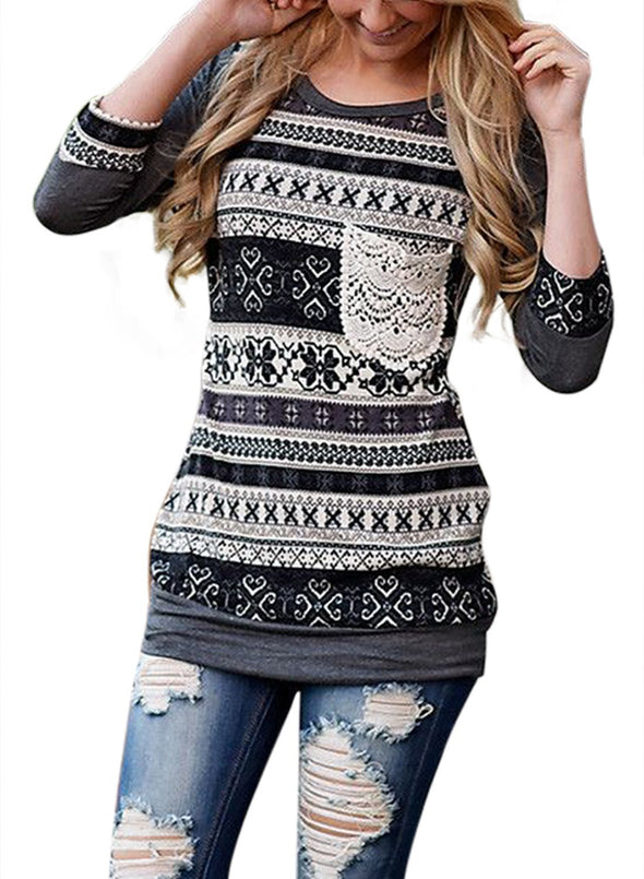 Raglan Sleeve Lace Pocket Detail Printed Top