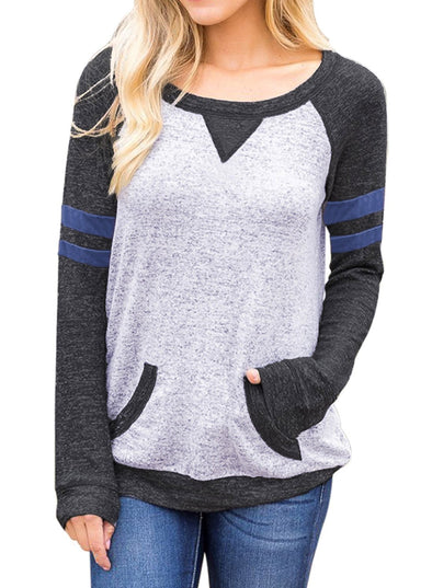 Contrast Stripes Sleeves Sweatshirt (LC250576-2-1)