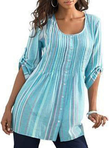 Image of Pleated Stripe Button Front Tunic