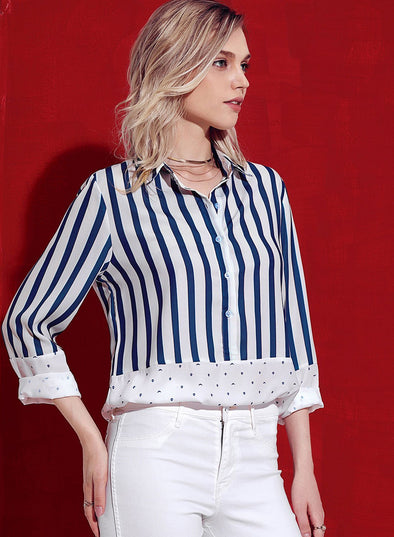 Pinstripe Color Block Relaxed Boyfriend Shirt