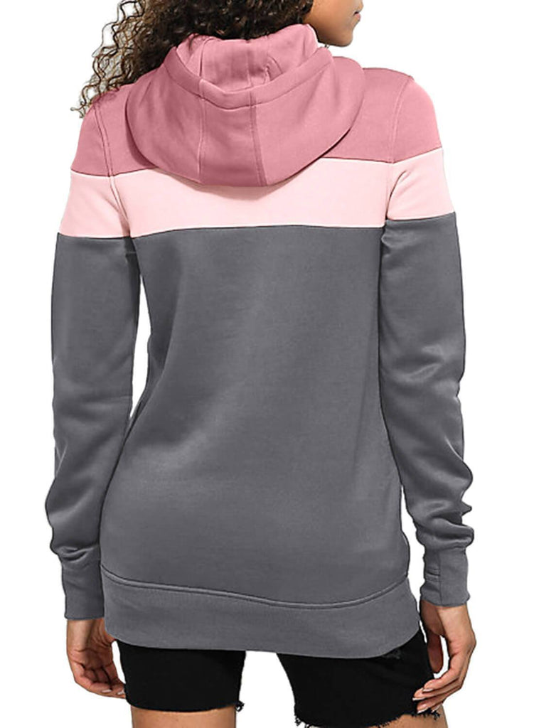 Color Block Front Pocket Hooded Sweatshirt (LC251478-11-2)