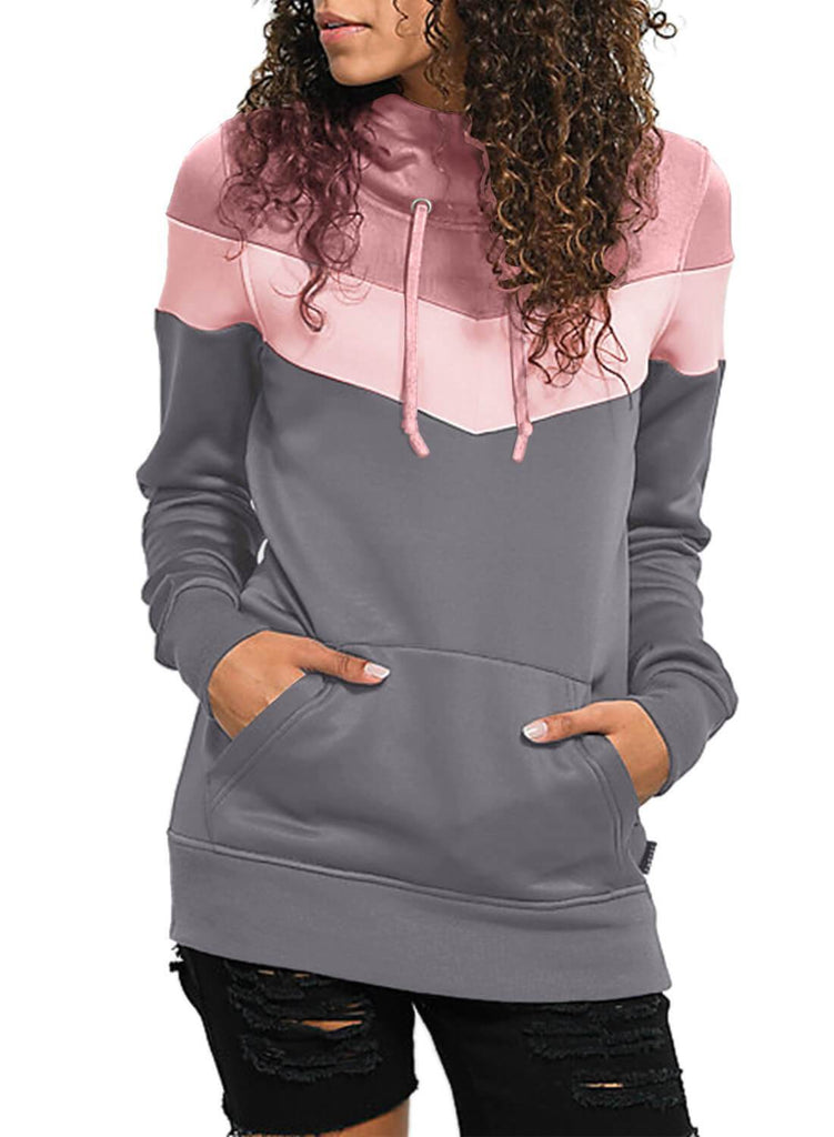 Color Block Front Pocket Hooded Sweatshirt (LC251478-11-1)