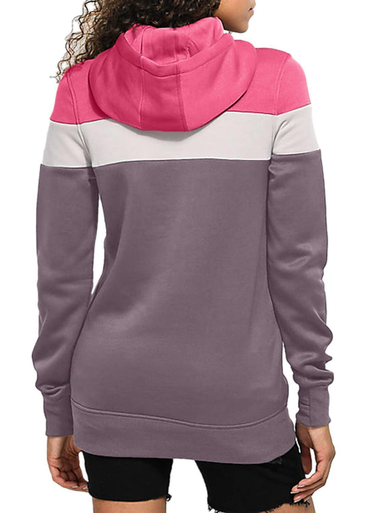 Color Block Front Pocket Hooded Sweatshirt (LC251478-8-2)