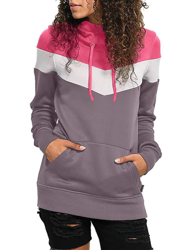 Color Block Front Pocket Hooded Sweatshirt (LC251478-8-1)